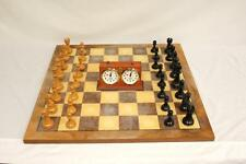 "Large French Staunton Wood Chess set with Drueke style 25&1/4"" Board Clock"
