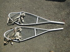 "Vtg US Military Cable Snow Shoes with Bindings 46"" long"