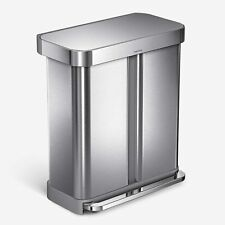 Simplehuman Dual Compartment Rectangular 58 Liter Step Trash Can stainless