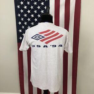 Large vintage 90s Umbro 1994 USA flag soccer T-shirt men's fifa 94 futbol 1e976p