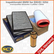 BMW 5er E60 E61 520d Innenraumfilter Aktiv. Pollenfilter + Luftfilter + Ölfilter
