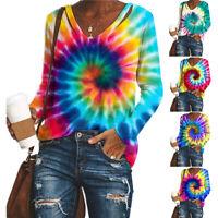 Plus Size Womens Long Sleeve Loose Blouse Tops Ladies Tie Dye Print T Shirt Tee
