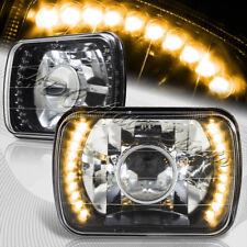 "7""x6"" H6014 H6052 H6054 Sealed Beam Amber LED Black Housing Projector Headlights"