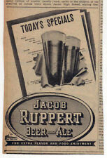 1938 newspaper ad for Jacob Ruppert Beer - beer glasses pop out of Specials sign