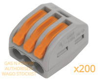 Wago 222-413 Electrical Connectors 3 Conductor Wire Clamp Terminal Block x200
