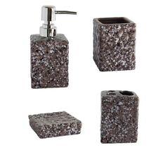 Set 4 Accessori Bagno Ceramica PortaSapone Porta Spazzolino Dispenser 52609 dfh