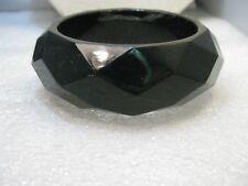 """Vintage Wide Black Bangle Bracelet, Faceted, 1-1.8"""" Wide, 7.5"""""""