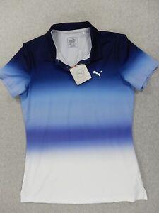 NWT Puma Tie Dye Golf Polo Shirt (Womens XS) PeaCoat Blue