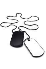 Collar joyeria para hombre, colgante 2 placas identificacion militares estilY1K4