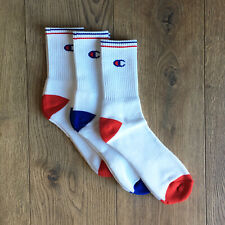 MENS CHAMPION CREW SPORTS SOCKS RETRO WHITE/RED/BLUE 3 PACK