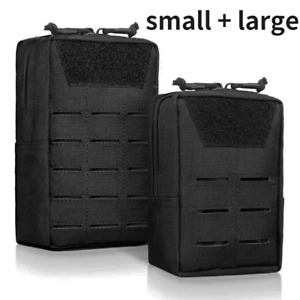 Small + Large Nylon Black Tactical Molle Army Pouch Accessories Bag Utility Pack