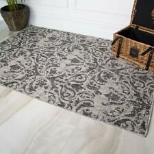 Low Cost Flat Garden Graphite Gray Damask Floral Rug - Patio Porch Outdoor Rugs