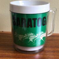 SARATOGA VINTAGE EAGLE THERMO INSULATED GREEN RARE MUG