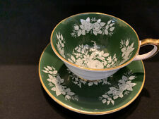 AYNSLEY CUP & SAUCER, DARK GREEN BACKGROUND, CABBAGE ROSES, BONE CHINA, ENGLAND