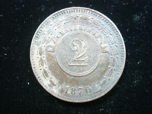 PARAGUAY 2 CENTESIMO 1870 BROWN DETAILS SHARP 3942# WORLD MONEY COIN
