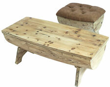 New Vintiquewise Vintage Wooden Wine Barrel Storage Bench and Coffee Table