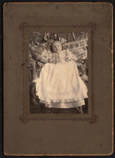 NEEDLEPOINT BLANKET & AMAZING QUILT & BABY GIRL ~ 1906 VINTAGE PHOTO ABILENE KS