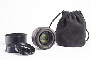 Nikon AF-S 50mm f/1.8 G SWM Aspherical Lens with Caps Hood & Case Near Mint V19