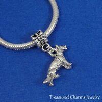 Silver GERMAN SHEPHERD Dangle Bead CHARM Dog GSD Shepard fits EUROPEAN Bracelet