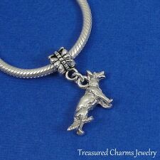 Silver GERMAN SHEPHERD Dangle Bead CHARM Dog GSD Shepard fits EUROPEAN Bracelet