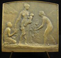Medal Sc P Lenoir Allegorie de La Charity L'Singing Charity Alms Ca 1900 Medal