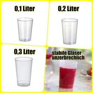 Trinkbecher unzerbrechlich Mehrweg 0,1l, 0,2l, 0,3 Liter transluzent PP