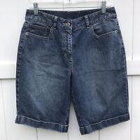 Talbots Petites Stretch Bermuda Jean Shorts Womens Sz 10 Blue Casual Summer