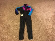 Vintage 80's 90's  Black Bear nylon ski suit size large vg++ neon snowsuit