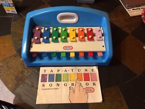 Little Tikes Vintage 1985 Xylophone Piano Tap A Tune Blue Musical Toy & Song Bo