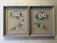 """Pair of Willis Original Oil Painting Floral, Signed, Framed, 8"""" x 10"""" (Image)"""