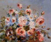 Auguste Renoir Roses from Wargemont Fine Art Print on Canvas Giclee Small 8x10