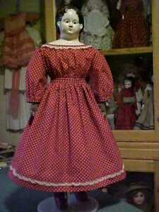 """Antique Repro Turkey Red Dress w/Lace For 25-30"""" Paper Mache, China, Bisque Doll"""