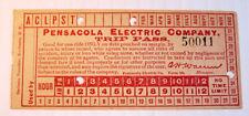 Vintage Pensacola Electric Co. Trip Pass Streetcar & Trolley Transfer