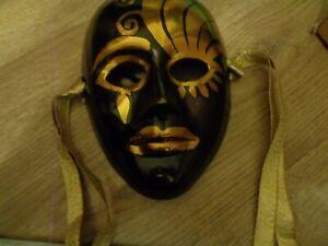Brass Metal Mardi Gras Wall Mask Black & Gold
