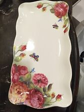 GRACE'S TEAWARE porcelain tea tray / serving dish Flowers w/ Butterflys new