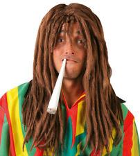 Mens Rasta Wig Dreadlocks Brown & Big Fake Joint Spliff Fancy Dress Accessory