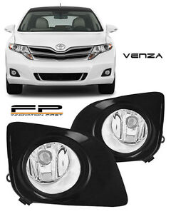 09-15 Toyota Venza Fog Lights Clear Lens Front Driving Bumper Lamps Complete Kit