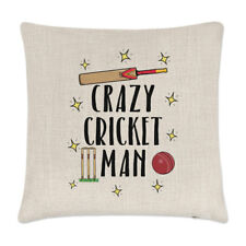 Crazy Cricket Man Linen Cushion Cover Pillow - Funny Sport