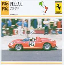 1963-1964 FERRARI 250P - 275P Racing Classic Car Photo/Info Maxi Card