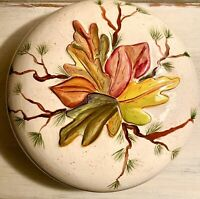Vintage Autumn Handmade Ceramic Pie Baking Serving Dish Signed in Lid and Bottom