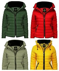 Women Ladies Plus Size Puffa Padded Quilted Zip Jacket Size 8-26