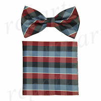 New Men's micro fiber Pre-tied Bow tie_hankie red blue plaids & checkers formal