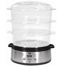 Kalorik DG-16271 800-Watt 3-Tier Food Steamer with Stainless-Steel Base LCD NEW