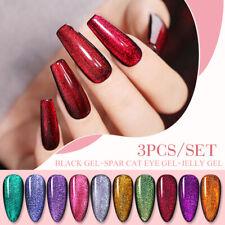 BORN PRETTY 6ML Black Gel Spar Cat Eye Gel 3PCS/SET Jelly Gel Vivid Polish Kit