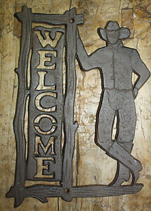 Cast Iron COWBOY WELCOME Sign Wall Plaque Home Wall Decor Rustic Ranch Western