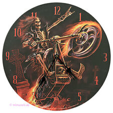 Wanduhr Bilderuhr Uhr Flüsterlaufwerk Hell Rider Skelett Totenkopf Grab Motorrad