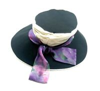 Studio Madness x Cheryl Hudson Vintage 80s Hat Black Purple Deco Funky Canvas