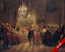 FLUTE CONCERT WITH FREDERICK THE GREAT PAINTING MUSIC ART REAL CANVAS PRINT