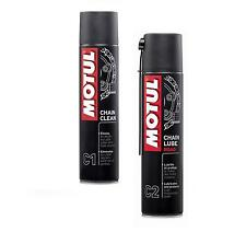 MOTUL CHAIN CLEAN SGRASSATORE + CHAIN LUBE ROAD GRASSO CATENE MOTO ROYAL ENFIELD