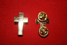 U.S. ARMY CHAPLAIN OFFICERS GILT METAL COLLAR INSIGNIA BADGES